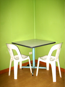 Table and chairs that can be used for various purposes.